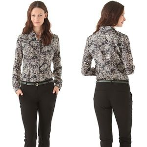 Theory Eva Snake Lace Button Down Top